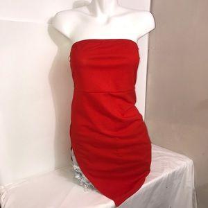 SHEIN Orange Summer Strapless Side Slit Dress